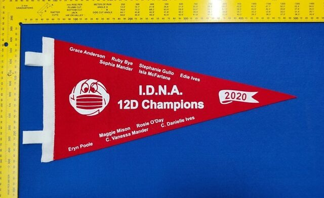 🚨White print on red felt This pennant will look amazing on the wall ❤️ #brisbanesport #brisbanescreenprinter #sportaward #trophyshop #achievement #2020goals #qldnetball #qldsport #coach #teamspirit