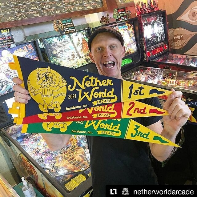 We're a bit late posting but this happened today at Netherworld 🌟 featuring the pennants we printed 😁 #Repost @netherworldarcade (@get_repost) ・・・ Pin Golf happens this Saturday! It's a 2 to 3 hour tour of 18 holes of pinball challenges you can do anytime between 9am and 4pm (so arrive by 2pm at the latest!). It's also the first pinball opportunity you have to score one of our 2021 Netherworld banners, which will be award to 1st, 2nd and 3rd place. You can grab a spot in the comp via events.humanitix.com/pingolfNW